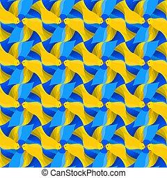 tessellation, próbka, ptaszki, styl, seamless, jasny, escher