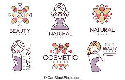 tesserati magnetici, cosmetico, bellezza, vettore, naturale, illustrazione, salone, set, etichette