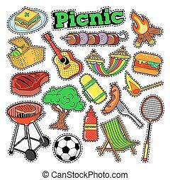tesserati magnetici, picnic, pezze, scarabocchiare, illustrazione, vettore, adesivi, scrapbooking., bbq