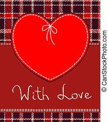 tessile, cuore, vettore, rosso, etichetta