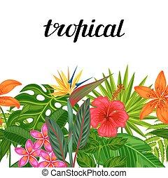 tessile, ritaglio, fatto, fondo, fondale, foglie, involucro, uso, seamless, tropicale, flowers., mask., carta, facile, senza, piante, orizzontale, bordo