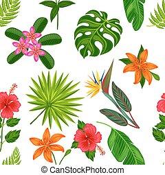 tessile, ritaglio, fatto, fondo, fondale, modello, foglie, involucro, uso, seamless, tropicale, flowers., mask., carta, facile, senza, piante