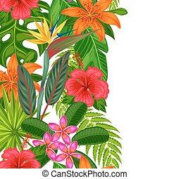 tessile, ritaglio, fatto, fondo, verticale, fondale, foglie, involucro, uso, seamless, tropicale, flowers., mask., carta, facile, senza, piante, bordo