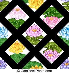 tessile, ritaglio, fatto, naturale, fondo, fondale, loto, modello, fiori, involucro, uso, seamless, carta, mask., facile, senza, leaves.