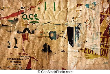 tessiture, carta, vecchio, malvestito