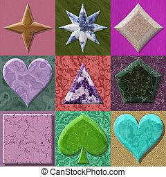 tessiture, cornici, generare, set, forma