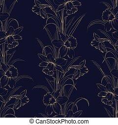 tessuto blu, primavera, seamless, scuro, fondo., modello, fiori