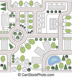 tessuto, città, alberi., astratto, fondo, plan., abbigliamento, disegno, paesaggio, web, seamless, modello, stampa, sagoma, strade, carta da parati, città, textiles, map., case, urbanistic, vettore, fondale