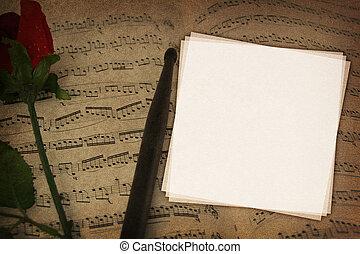tessuto, note, struttura, musica, fondo, copy-space