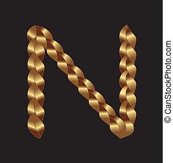 tessuto, oro, lettera n