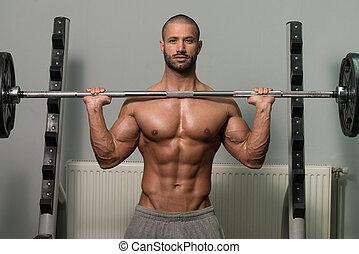 testépítő, gyakorlás, váll, noha, ki kézi súlyzó