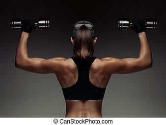 testépítő, nő, erős, állóképesség