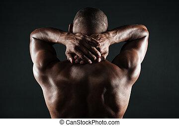test, övé, nyak, hát, erős, fiatal, birtok, african bábu, kilátás