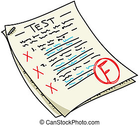Test - A cartoon test with an 'F' result.