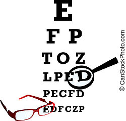 Test alphabet in oculist room with glasses and loupe. Vector...