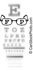 test alphabet in oculist room with glasses