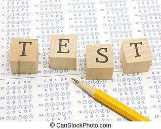 test, blokjes, pencil., scantron