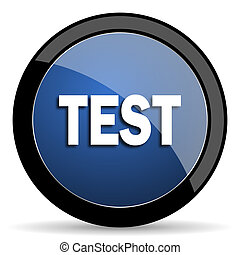 test blue circle glossy web icon on white background, round button for internet and mobile app