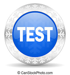 test blue icon, christmas button