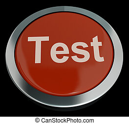Test Button In Red Showing Quiz Or Online Questionnaires