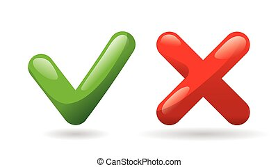 Test check mark buttons icon. Tick and cross vote symbol. Green - yes, red - no. Template design for web or mobile app, Vector.