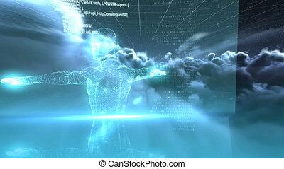 test, digitally, emberi, kivált, video