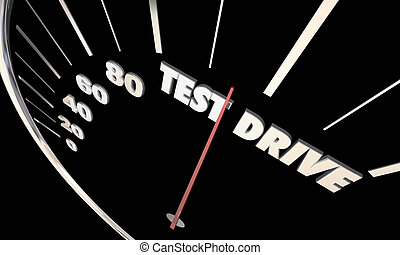 Test Drive Car Vehicle Evaluation Review Shopping 3d Illustration