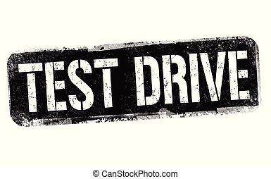 Test drive sign or stamp on white background, vector illustration