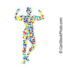 test, emberi, vektor, áttekintés, ábra