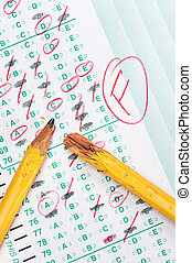 Test failure - A graded test form with red scoring pencil...