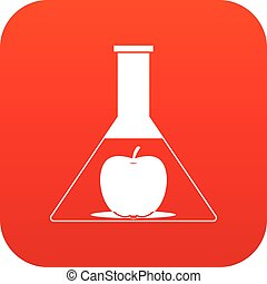 Test flask with apple icon digital red