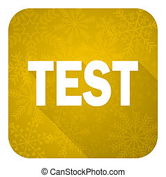 test flat icon, gold christmas button