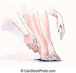 test, fogadószoba, lábápolás, ábra, vízfestmény, körömápolás, törődik