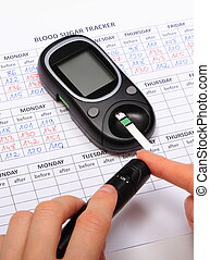 Test for determination level sugar and medical form - Woman...