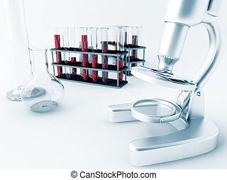 test, glas, microscoop, buizen, laboratorium