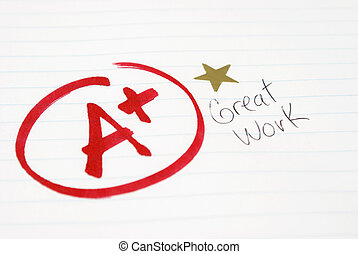 Test Grade - An A plus is given to a student for great work...
