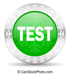 test green icon, christmas button