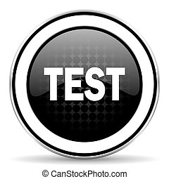 test icon, black chrome button