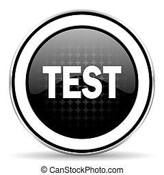 test icon, black chrome button