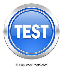 test icon, blue button