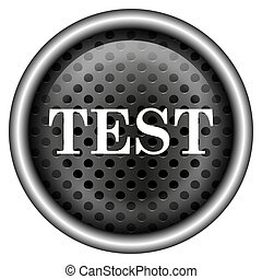 Test icon - Metallic black glossy icon on white background