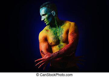 test, Képzelet, izom, művészet, ember