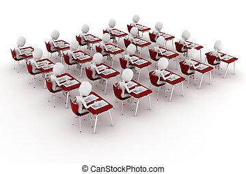 test, klaslokaal, man, examen, 3d