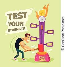 test, kracht, jouw