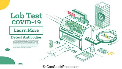 test., laboratorio, concept., isométrico, anticuerpo, ...
