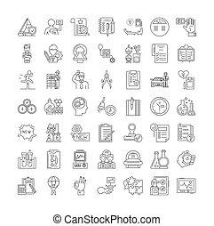 Test linear icons, signs, symbols vector line illustration set