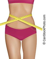 test, nő, fiatal, egészséges