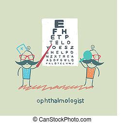 test, oftalmoloog, patiënt, controles, in het oog krijgen