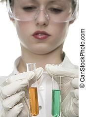 test, oung, buis, vrouw, laboratorium