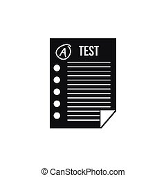Test paper icon, simple style